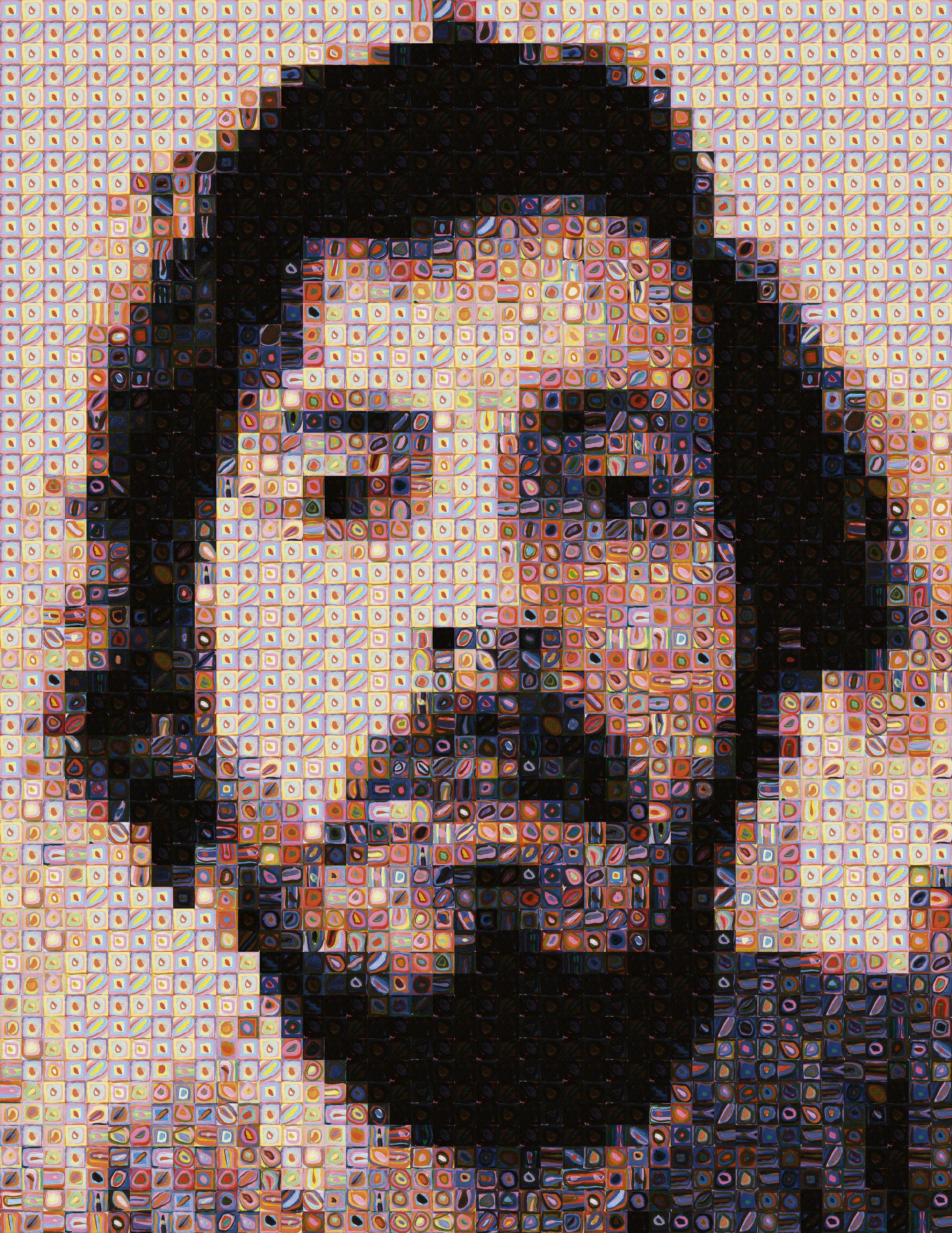 A Close Up Of A 14 Year Old Boy Covered In Snow Stock: Chuck Close Filter By Scott Blake